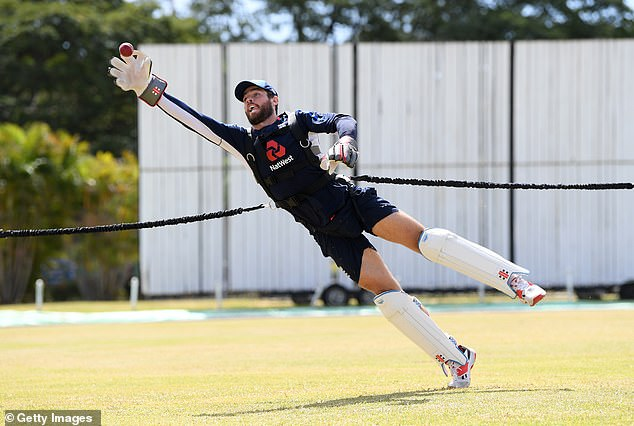 England wicketkeeper Foakes was at full stretch to take this catch during net practice