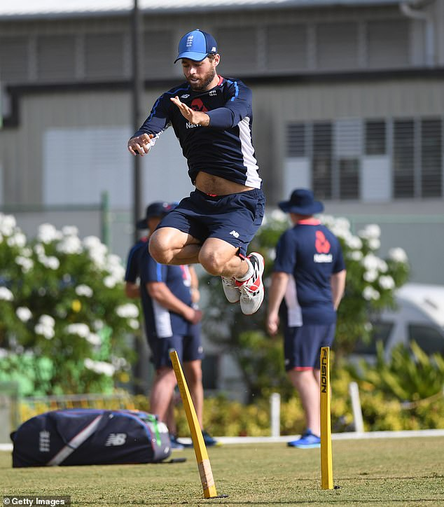 Foakes of England warms up during net practice at the Three Ws Oval inBarbados