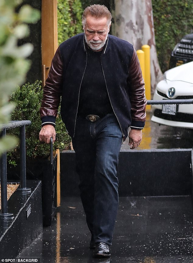 Father of the girlfriend: Arnold Schwarzenegger is shown on Monday while he is out for lunch in Los Angeles after he is reportedly asked