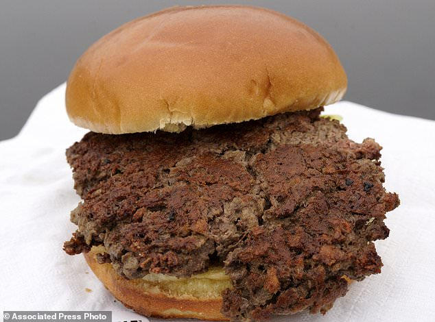 The report recommends a plant-based diet, based on previously published studies that have linked red meat to increased risk of health problems. The photo above shows a plant-based burger made from wheat protein, coconut oil and potato protein