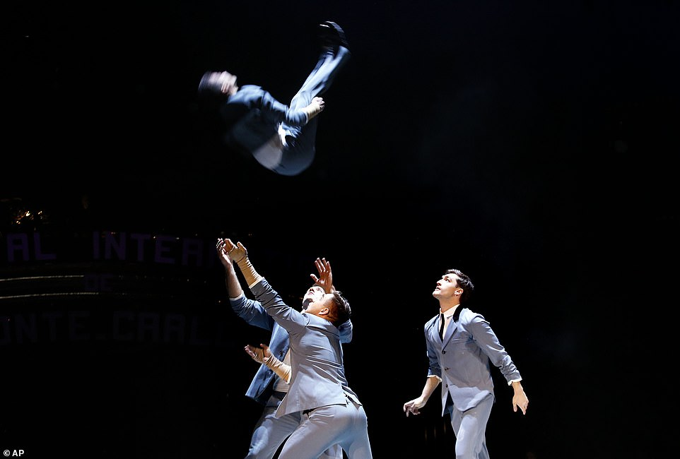 Up, up and away!Quatuor Prilepin acrobats perform during the opening ceremony of the 43rd Monte-Carlo International Circus Festival in Monaco.According to tradition, an international jury under the presidency of Princess Stéphanie will honour the best acts of the Festival with the famous Golden, Silver and Bronze Clowns awards on the circus's closing night