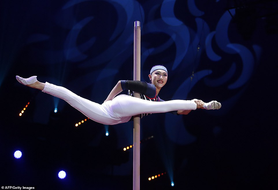 An acrobat of the China National Acrobatic Troupe performs during the opening ceremony of the 43rd Monte-Carlo International Circus Festival in Monaco on January 17.Stéphanie, who is President of the extraordinary show, helps to oversee the Circus Festival and is involved in everything from choosing the acts to the choreography