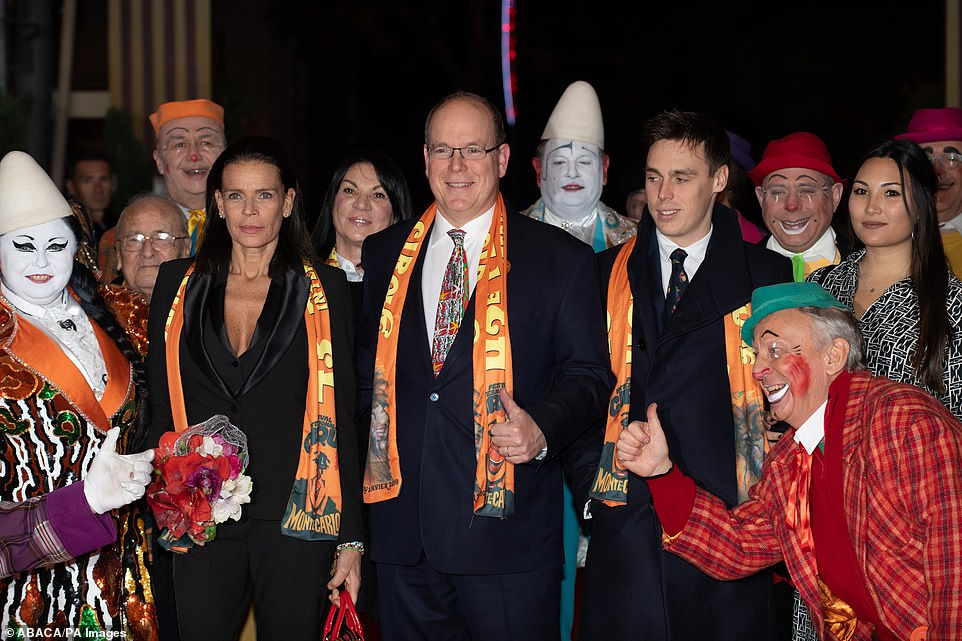 It's a family affair!Prince Albert II of Monaco (centre), Princess Stéphanie (left), her son Louis Ducruet and his fiancée Marie attend the opening ceremony of the 43th Monte-Carlo International Circus Festival. Marie and Louis have told how they were visiting her native Vietnam in February 2018 when Louis dropped to one knee on the beach to propose