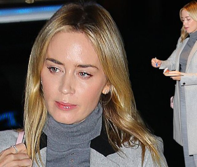 Emily Blunt Cuts A Stylish Figure In A Grey Polo Neck And High Waisted Check Trousers In Nyc Daily Mail Online