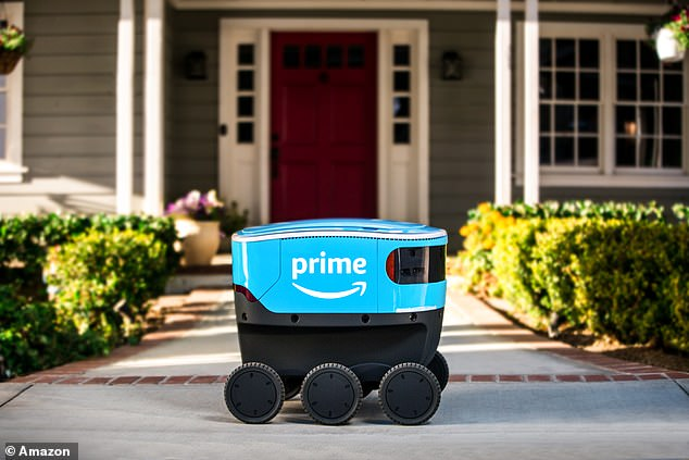 Each Scout robot is a squat, bright blue device that gets around on six wheels.The all-electric devices are about the size of a small cooler and can deliver packages autonomously