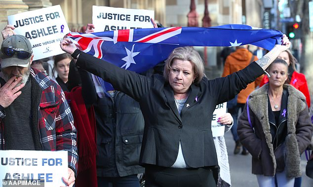 Siobhann Brown protesting outside court before Mohamed Naddaf was jailed for eight years
