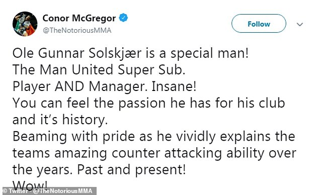The United supporter took to Twitter to praise the interim manager after United beat Arsenal