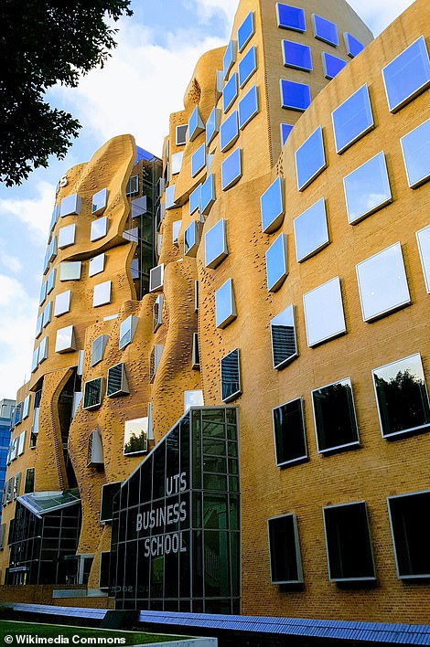 The Dr Chau Chak Wing Building, in Sydney, which is part of the University of Technology Sydney. The building was created using custom-made bricks, with many saying it looks like a 'squashed paper bag'