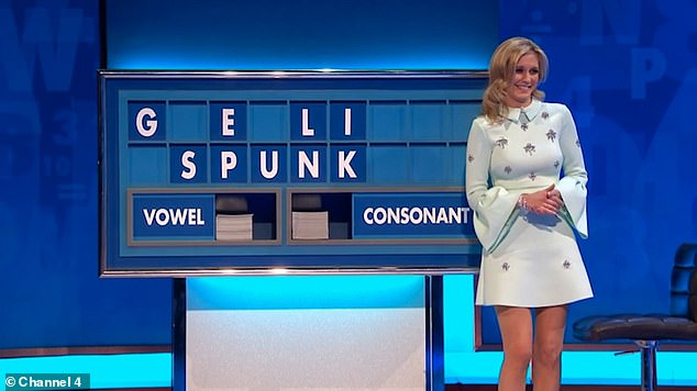 Cheeky:In January of the same year, when Rachel was asked to make words out of the letters 'GESULIPNK', she sneakily spelled out the word 'spunk'