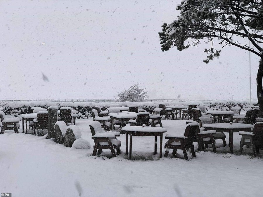 The view from Jamaica Inn, made famous by Daphne du Maurier in her classic novel, on Bodmin Moor which has laid out makeshift beds for motorists who are stuck on the A30