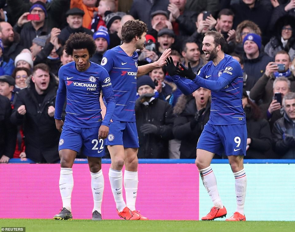 Higuain (right) celebrates with his Chelsea team-mates Willian (left) and Marcos Alonso (middle) after scoring