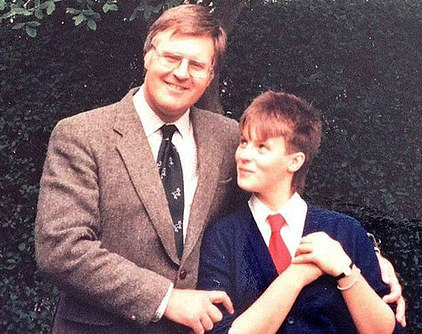 Anna is pictured with her father as a teenager