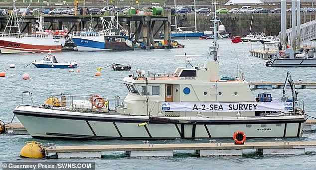 The specialist FPV Morven ship, pictured in Guernsey, is being used in a privately funded search for the plane of missing footballer Emiliano Sala and pilot David Ibbotson