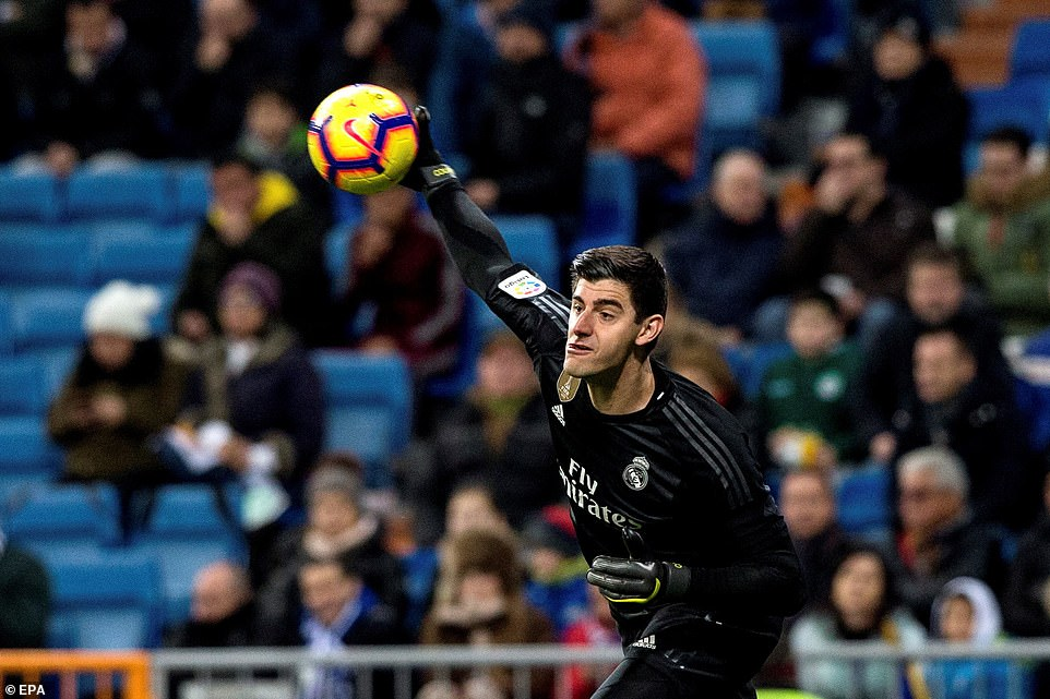 Real Madrid goalkeeper Thibaut Courtois begins a counter attack by launching the ball to a Real Madrid team-mate