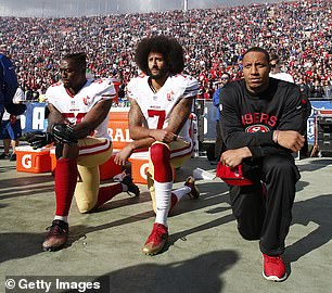 Ex-49ers quarterback Colin Kaepernick (No. 7) has remained unsigned since the 2016 season, when he began protesting inequality and racist police brutality by refusing to stand during the national anthem