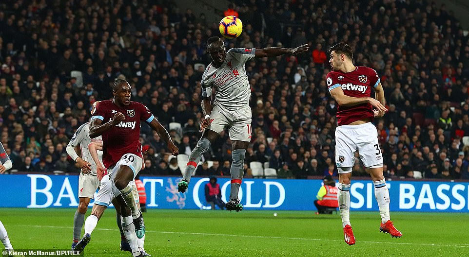 Mane came close to adding his second of the game before the break from a corner but his effort was dealt with by Fabianski