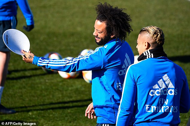 Marcelo pictured in Real's training session on Tuesday ahead of the first leg with Barcelona