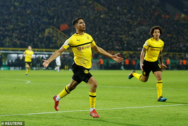 Achraf Hakimi thought he'd won it for Dortmund; scoring their third in the 112th minute