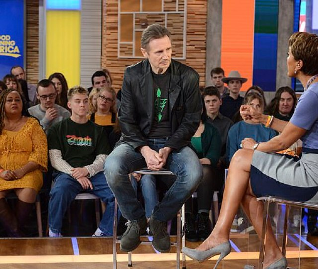 Liam Neeson With Co Host Robin Roberts On Good Morning America As He Answers Questions