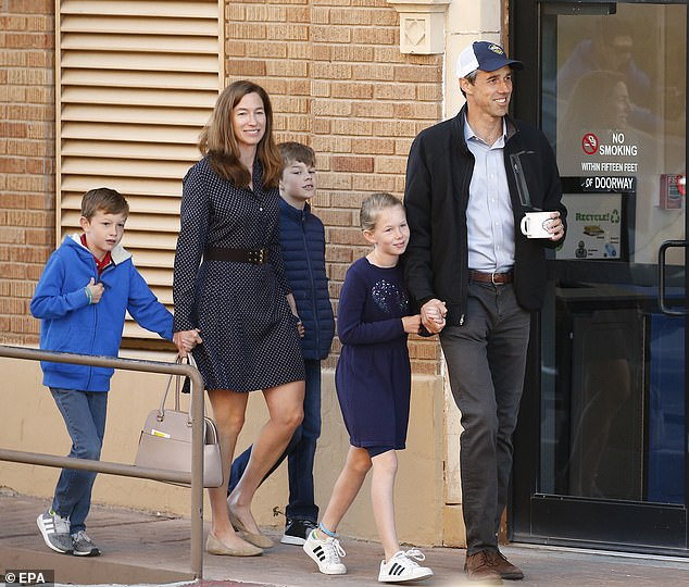 Beto O'Rourke, his wife Amy and their three children on Election Day in 2018