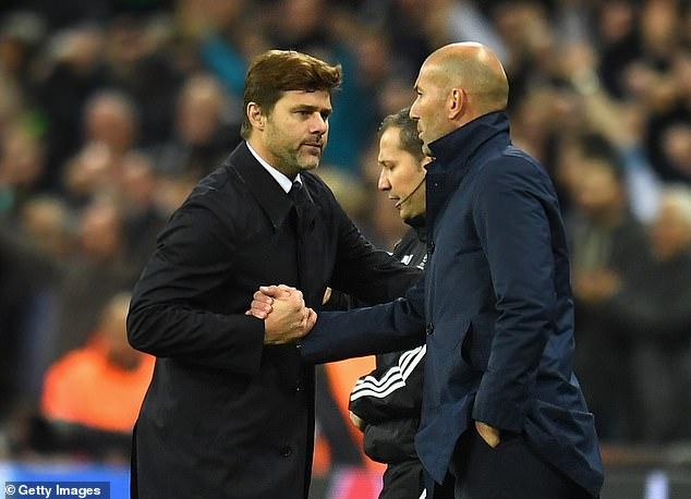 The Tottenham manager and Zidane embracing after a Champions League game in 2017