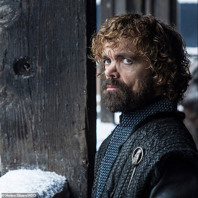 Broody: Cersei's brother, Tyrion Lannister, played by Peter Dinklage, was shown against a snow-covered balustrade in Winterfell