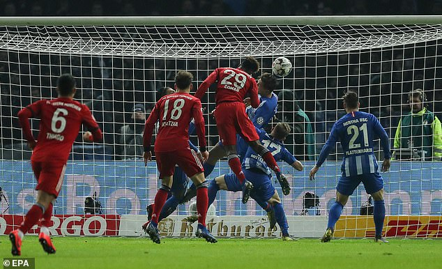 Hertha failed to deal with a bobbling ball andKingsley Coman headed in extra time winner