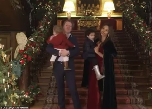 At Christmas Emma shared a short video as she posed at the foot of her grand staircase alongside her husband and their two sons, John, 4, and Henry, 1. The banister was decorated with lavish festive garland, complete with baubles, pine needles and lights