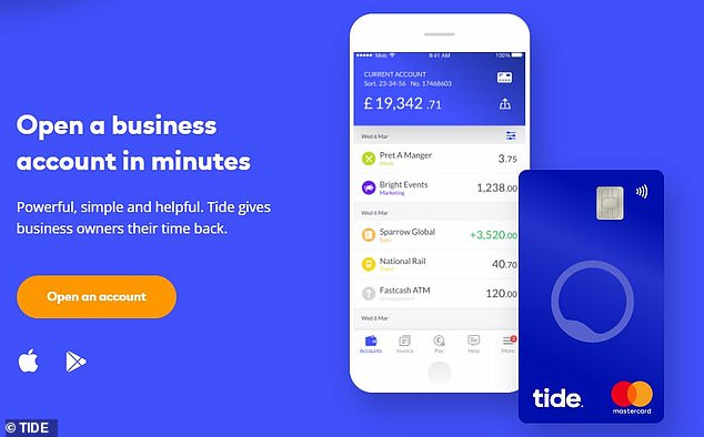Tide is a purely digital banking app which claims to allow customers to open an account in less than five minutes using their mobile phones