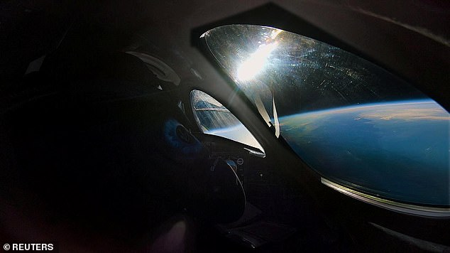 A view from the edge of space is seen from the cockpit of Virgin Galactic's manned space tourism rocket plane SpaceShipTwo during a space test flight over Mojave, California.Virgin Galactic is working along with Blue Origin, which also belongs to Branson on its way to sending passengers into space 'by 2020