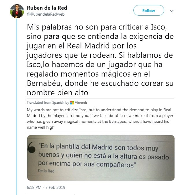 Ruben de la Red tweeted this week: 'Isco has to understand that Madrid waits for no one'  Real Madrid to offer player plus cash to Chelsea to sign Eden Hazard 9565432 0 image a 67 1549642245603