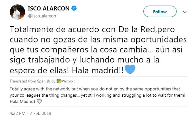 Isco responding in kind and complained about a lack of opportunities at the club  Real Madrid to offer player plus cash to Chelsea to sign Eden Hazard 9565434 0 image a 68 1549642249197