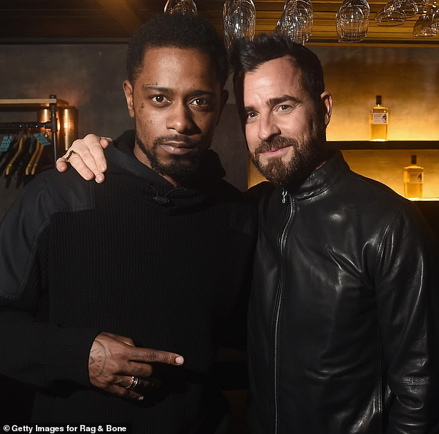 Men in black: Lakeith Stanfield [L] and Justin Theroux strike a pose