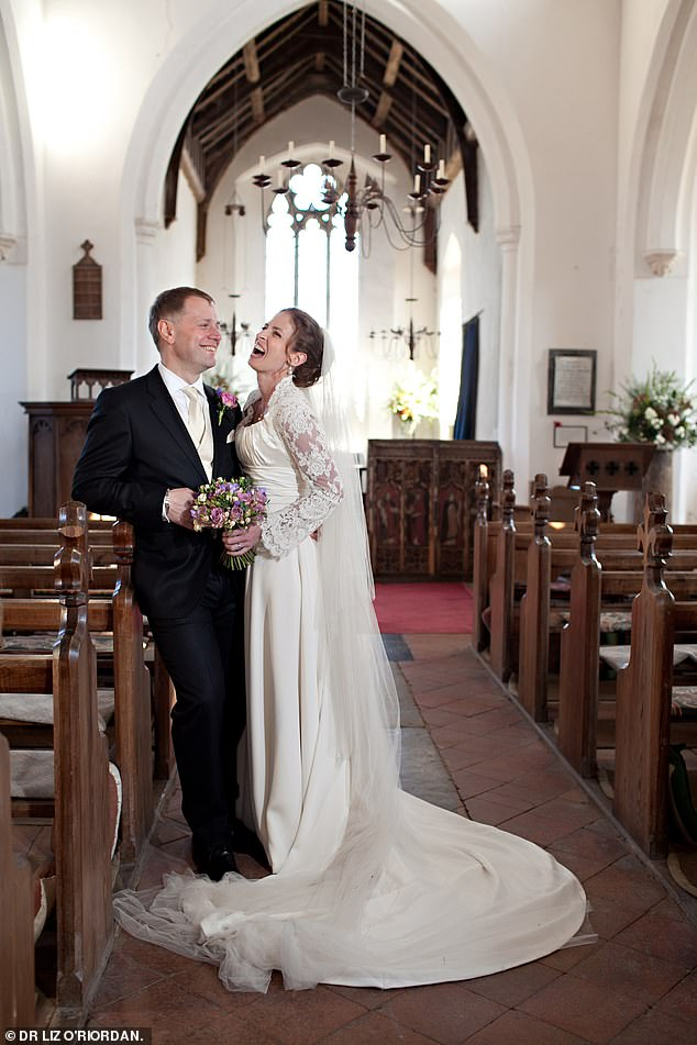 Dr O'Riordan, pictured on her wedding day with her husband and fellow surgeon Dermot, 54, said it was important that couples talk about their sex lives when undergoing cancer treatment