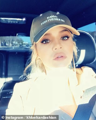 The hat that started it all! The timing of Khloe's posts led some fans to believe that she was approving her brother-in-law's recent engagement to run for the President of the United States in 2024