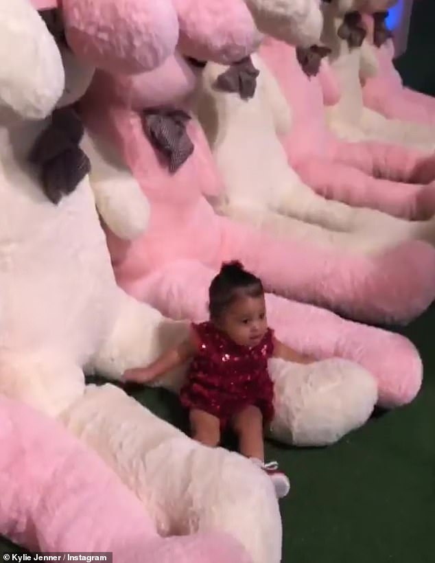 Girl of the day: Stormi crawled around clearly showing the center of attention wearing a pink sequin dress