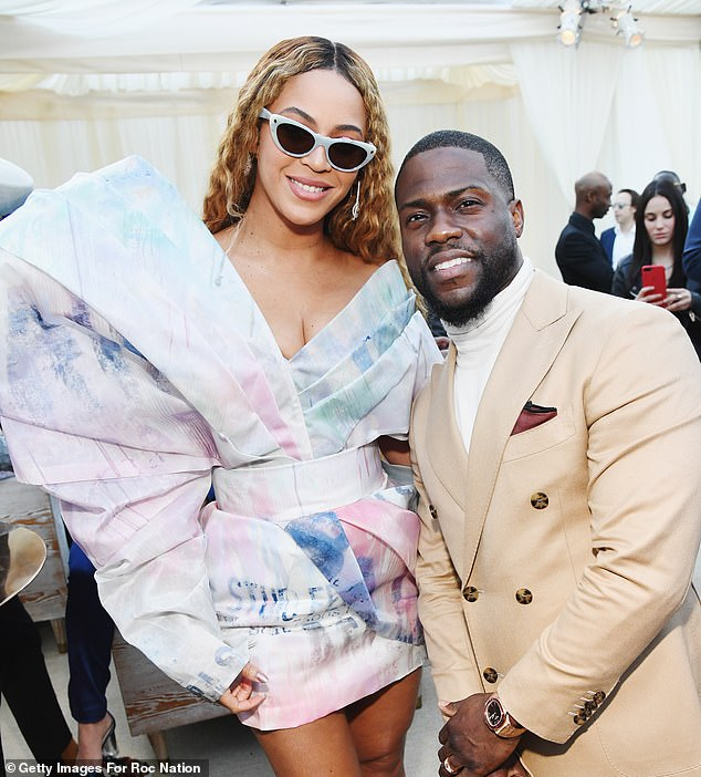 Superstars:Beyonce got in a bit of mingling at the star-studded brunch, smiling for the cameras with Kevin Hart, who wore a sand-colored suit over an off-white turtleneck