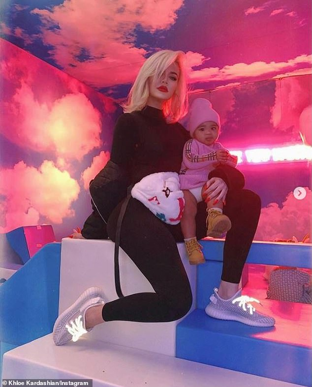 'I'm a cool mom!' Khloe shared pictured from inside the baby playroom