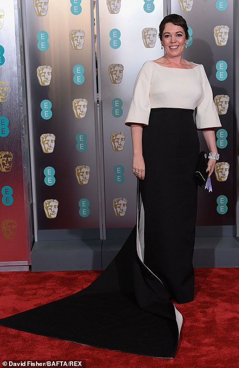 Wow:Olivia Colman joined her fellow A-listers on the red carpet at the 72nd British Academy Film Awards at the Royal Albert Hall on Sunday evening