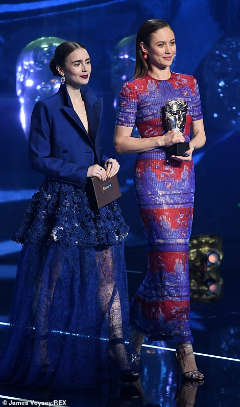 Sirens: Lily Collins looked beautiful in blue as she presented an award alongsideOlga Kurylenko at the ceremony