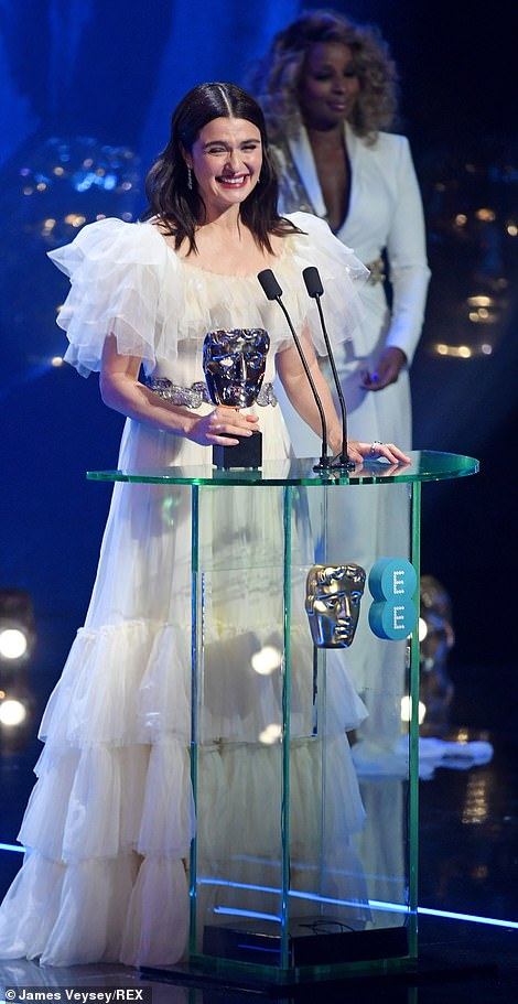 Big moment: Rachel couldn't contain her delight as she took to the stage to accept her award for Supporting Actress in The Favourite