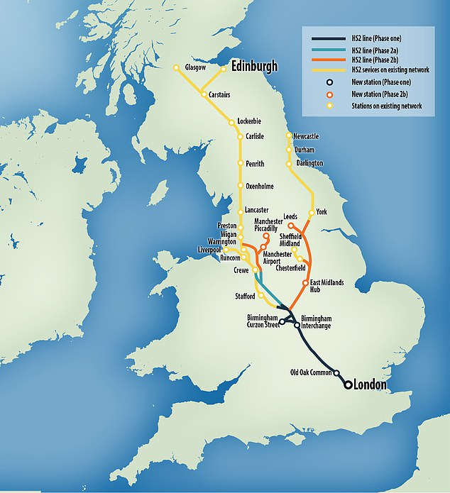 The first phase of the high-speed rail link will be opened between London and Birmingham in December 2026 before the railroad will be extended to Crewe, Manchester and Leeds by 2033