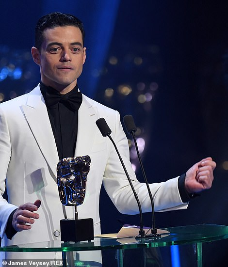 During his winner's speech, Rami said: 'This is truly extraordinary. Thank you BAFTA for this gorgeous gift. I cannot believe I am included in this group of actors'