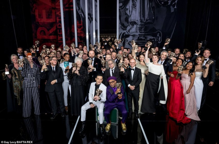 Group show: All the winners, including the likes ofBradley Cooper, Sandy Powell, Thelma Schoonmaker, Rami Malek, Spike Lee, Rachel Weisz, Olivia Colman, Alfonso Cuaron and Yalitza Aparicio, celebrated with an epic group shot