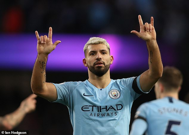 Sergio Aguero produced a man-of-the-match performance as he scored a hat-trick on the day