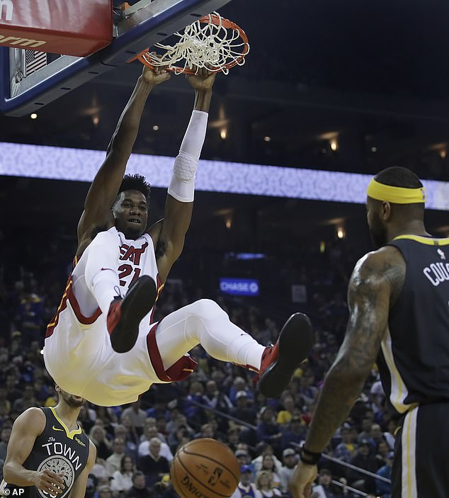 Miami centre Hassan Whiteside scores a slam dunk as the Heat dominated the early exchanges