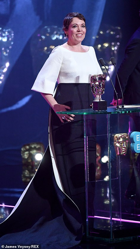 During her speech she said: 'To be in the same company as my fellow nominees is simply extraordinary. I'm very shaky and card read this, sorry. We're having an amazing night aren't we?