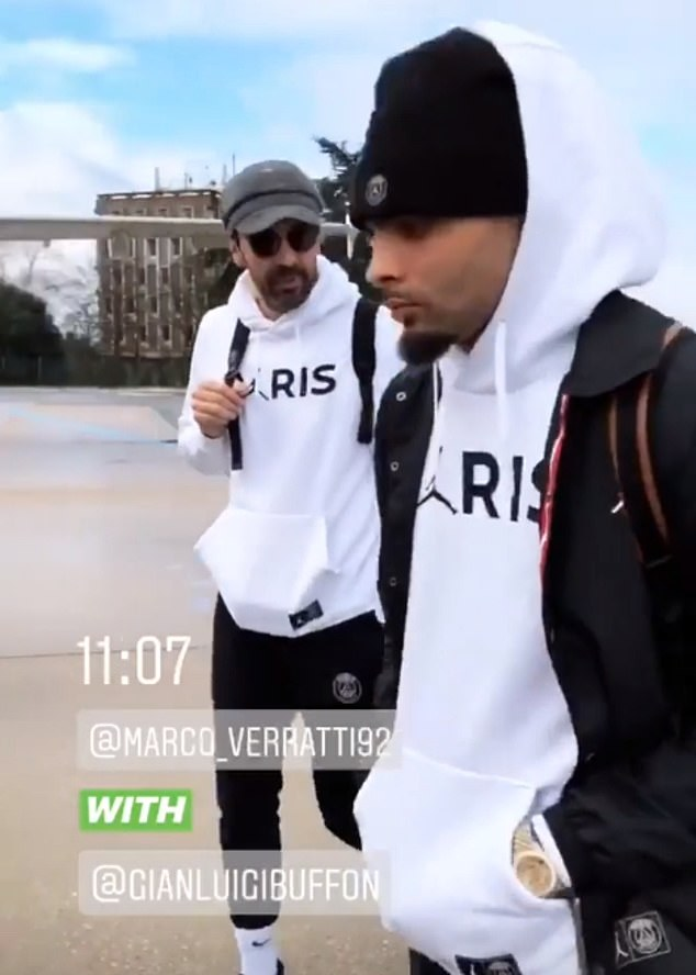 Legendary 'keeper Gianluigi Buffon was deep in conversation with playmaker Marco Verratti