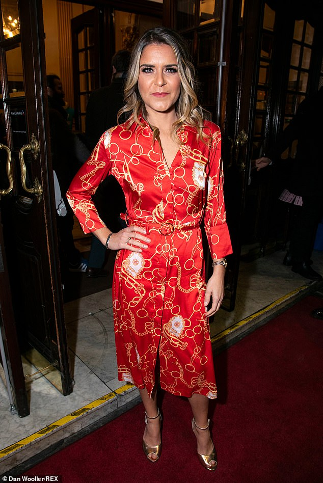Turning heads: Gemma Oaten commanded attention in a vibrant chain print dress