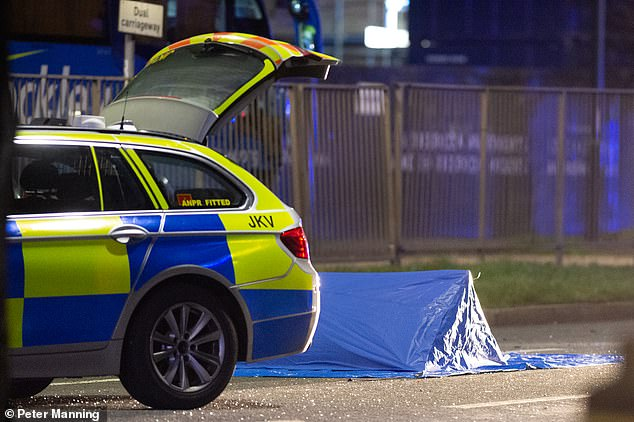 Police were forced to screen the remains of one of the victims from public view after the deadly collision